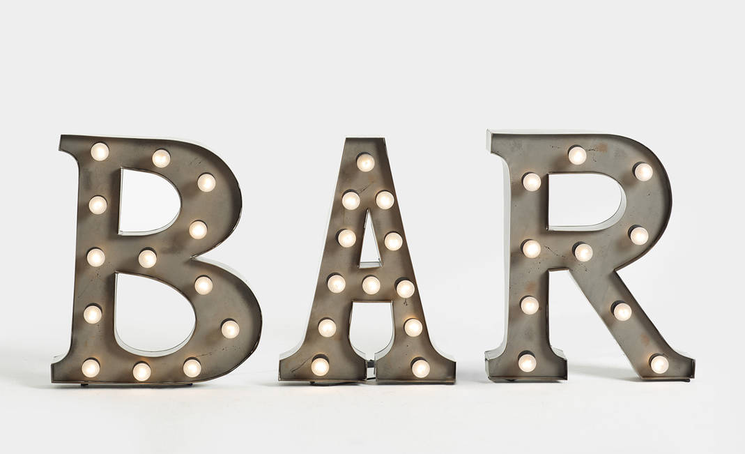 """Bar"" letters with bulbs 
