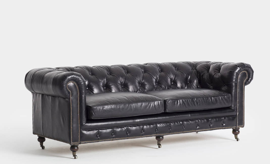 Black leather Chester sofa | Crimons