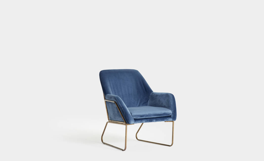 Golden and Blue Velvet armchair | Crimons