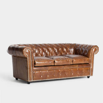 Brown leather Chester sofa | Crimons