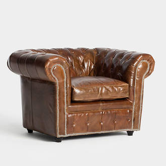 Brown leather Chester armchair | Crimons