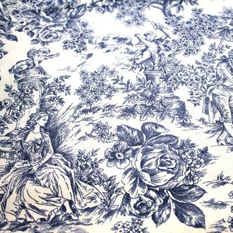 Blue Toile de jouy tablecloth | Crimons