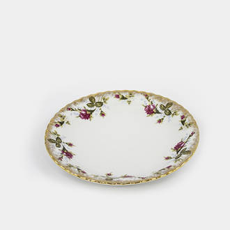 Gold/small flowered vintage dish rental | Crimons
