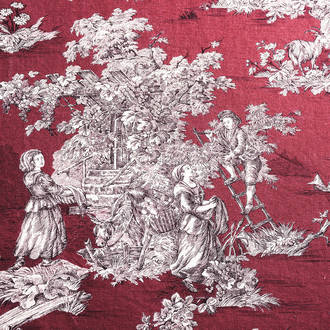 Mantel toile de jouy granate | Crimons