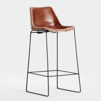 Brown leather stool | Crimons