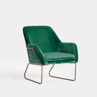 Golden and Green Velvet armchair | Crimons