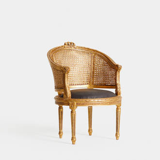 Louis XVI Golden and Brown armchair | Crimons