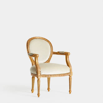 Louis XVI White and Golden armchair | Crimons
