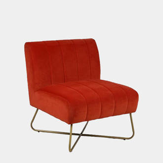 Orange Velvet Armchair | Crimons