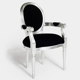 Black/silver armchair Louis | Crimons