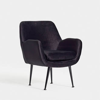 Black Velvet Armchair | Crimons